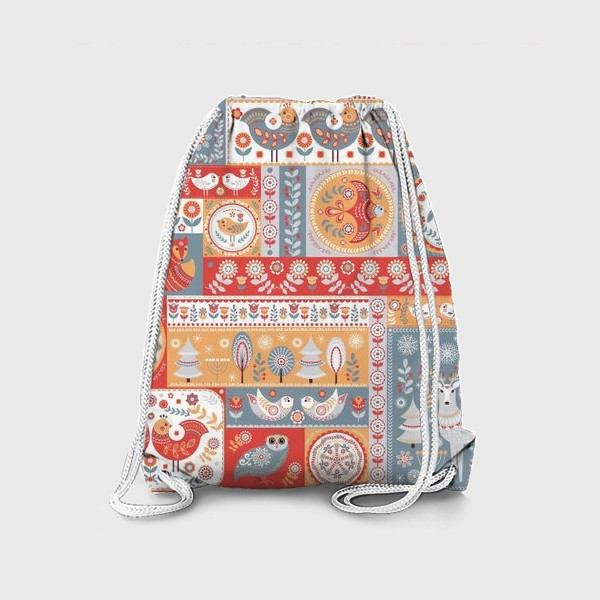 Рюкзак «Декоративные мотивы в фольклорном стиле.»