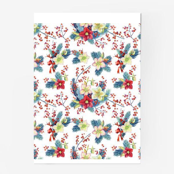 Постер «Новогодний паттерн. Красные ягоды»
