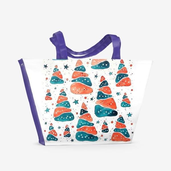 Пляжная сумка «Ёлочки новогодние»