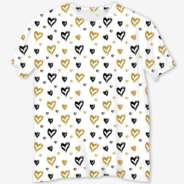 Футболка с полной запечаткой «Pattern design with hearts»
