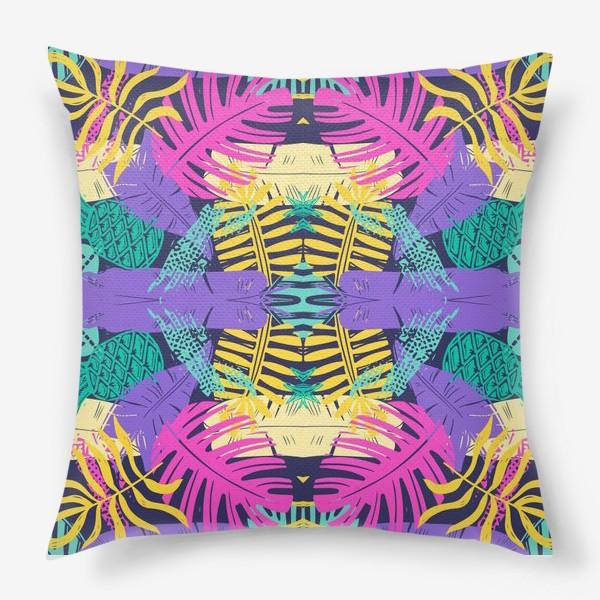Подушка «Тропический узор с листьями»