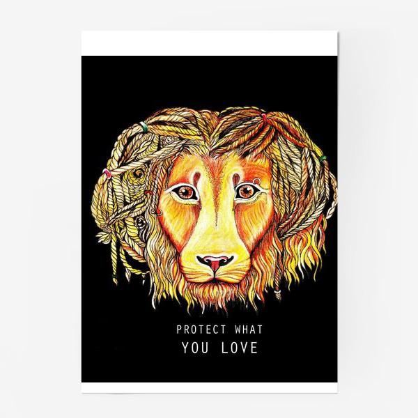 Постер «Лев на черном фоне»