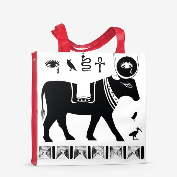 Сумка-шоппер «Древнеегипетский бог Апис в виде священного быка и древнеегипетские символы»