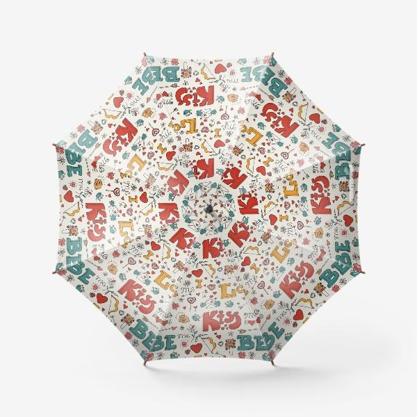 Зонт «Паттерн день святого валентина поцелуй, любовь»