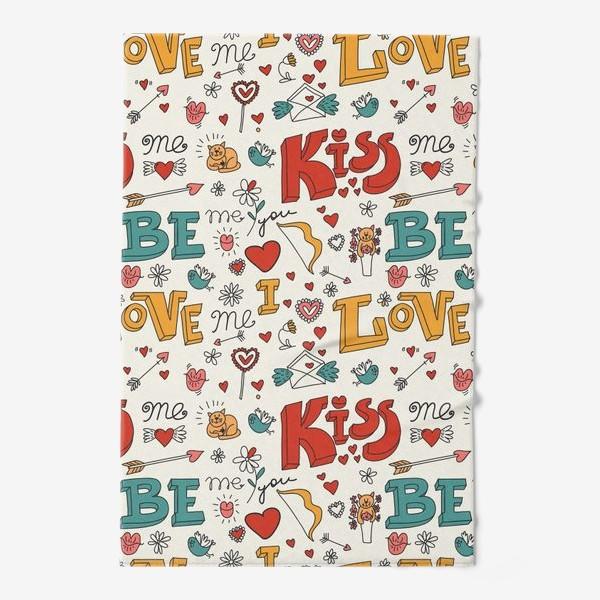 Полотенце «Паттерн день святого валентина поцелуй, любовь»