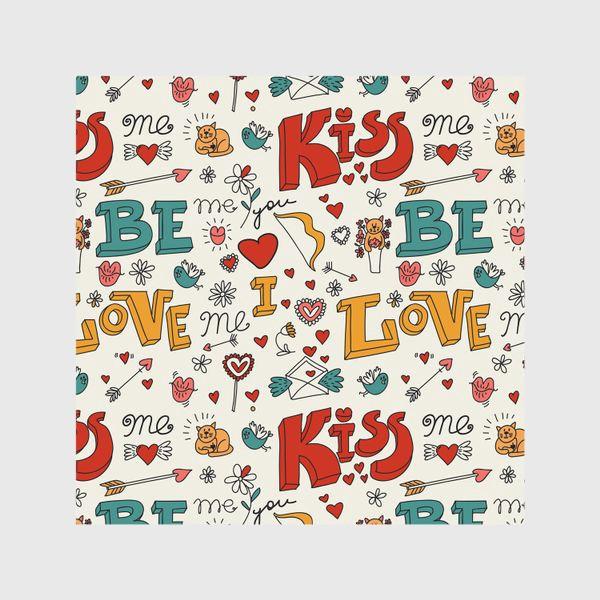 Шторы «Паттерн день святого валентина поцелуй, любовь»
