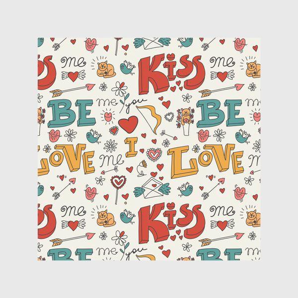 Скатерть «Паттерн день святого валентина поцелуй, любовь»