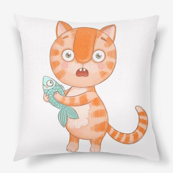 Подушка «Котик Кексик удивлен»