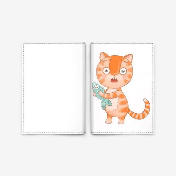 Обложка для паспорта «Котик Кексик удивлен»