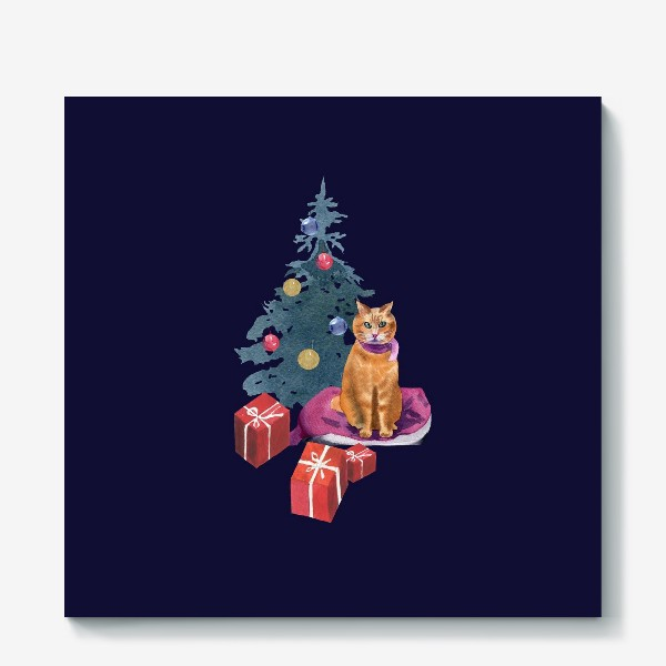 Холст «Christmas with a cat»