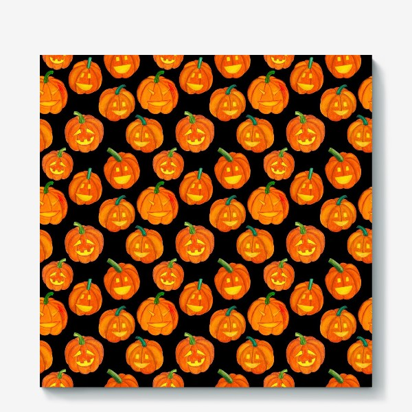 Холст «Паттерн хеллоуиновские тыквы»