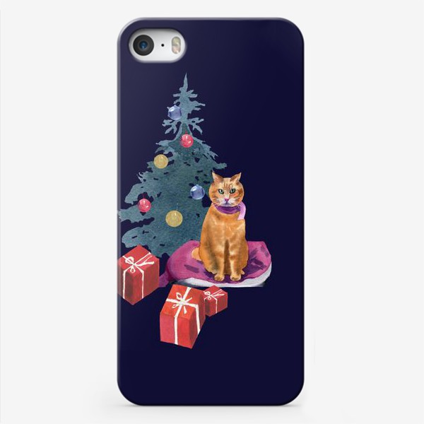 Чехол iPhone «Christmas with a cat»