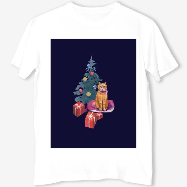 Футболка «Christmas with a cat»