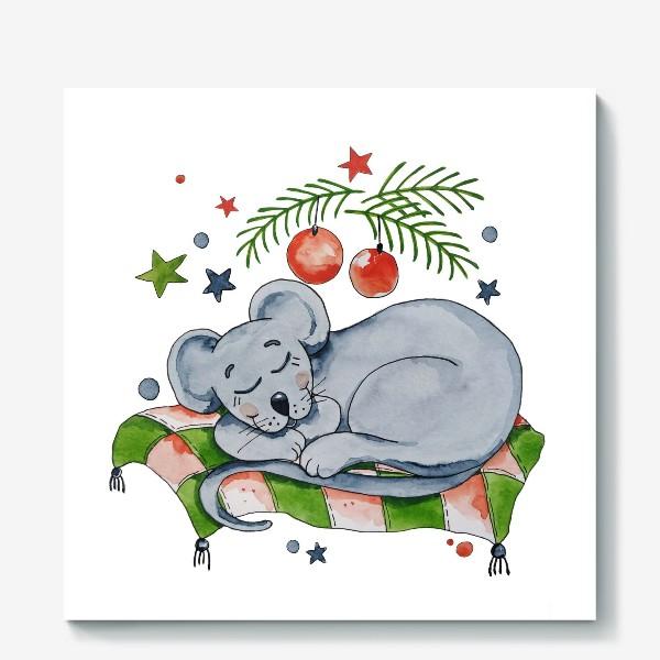 Холст «Сонная мышка. Подарок к Новому году.»