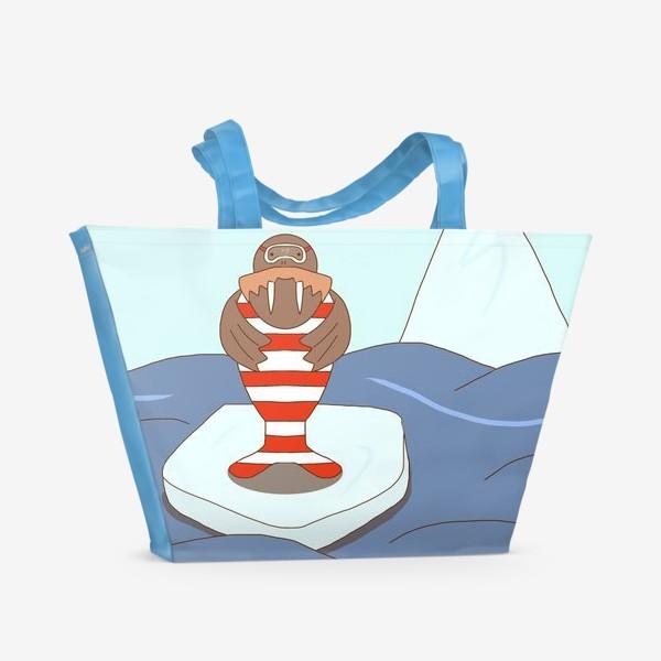 Пляжная сумка «Морж-стиляга»