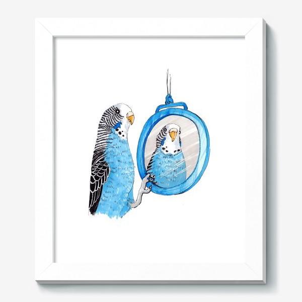 Картина «Волнистый попугайчик с зеркалом»