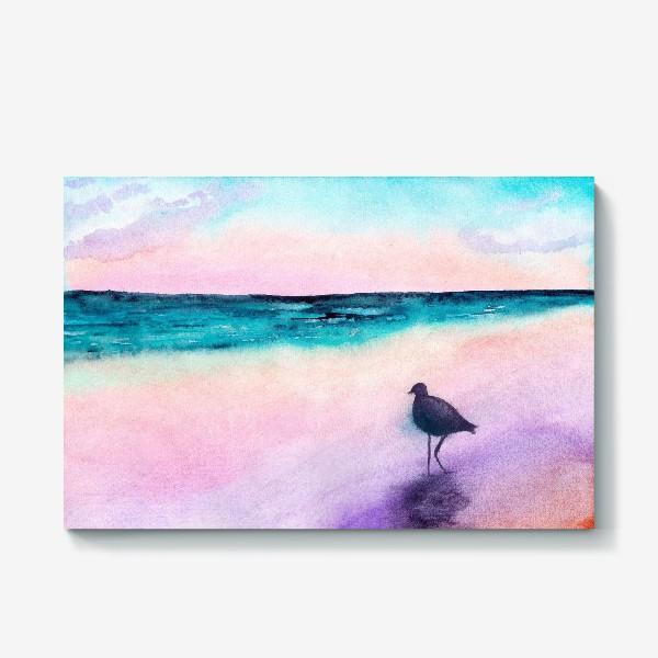 Холст «Чайка на море на закате»