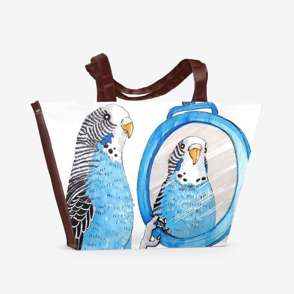 Пляжная сумка «Волнистый попугайчик с зеркалом»