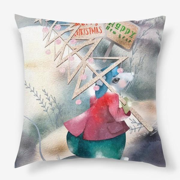 Подушка «Мышь и Эко-Елка»
