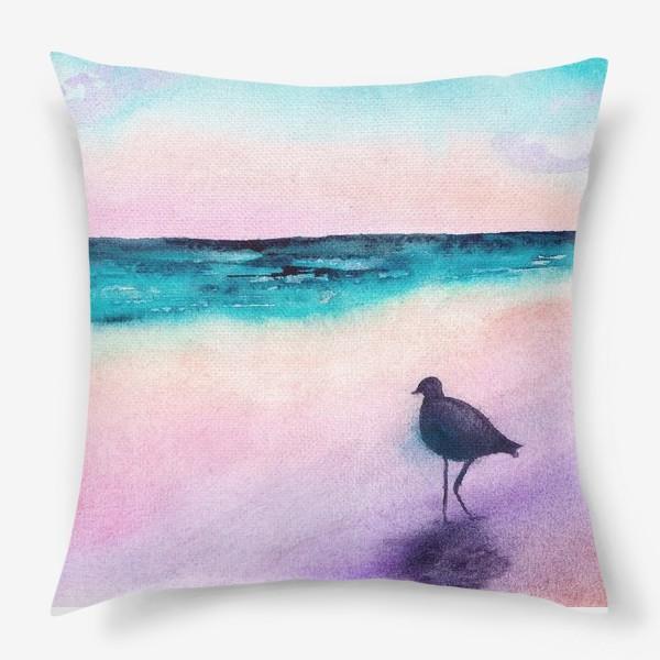 Подушка «Чайка на море на закате»