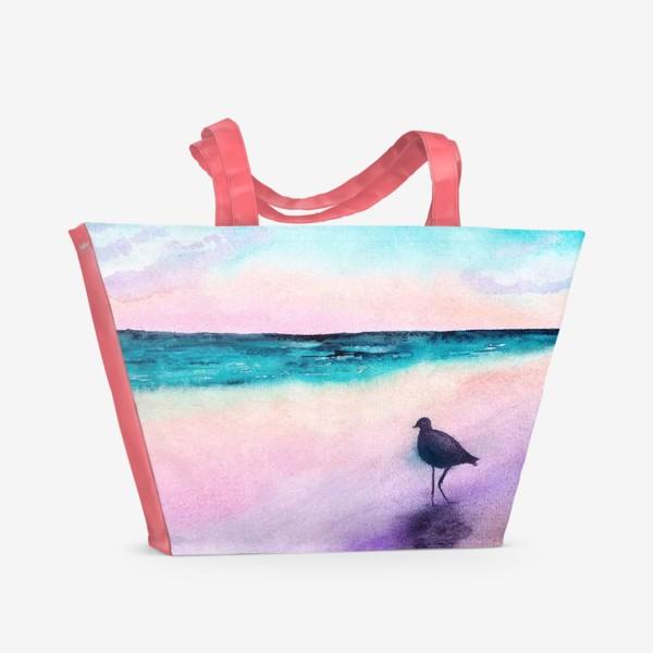 Пляжная сумка «Чайка на море на закате»