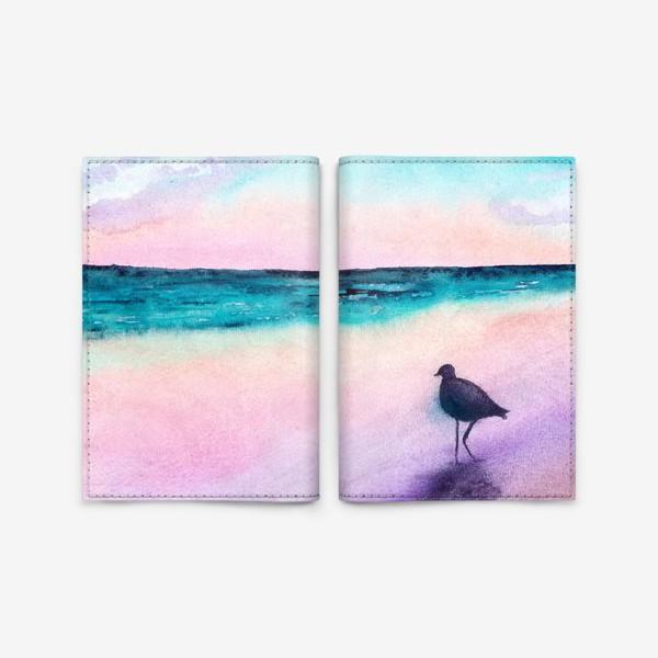 Обложка для паспорта «Чайка на море на закате»