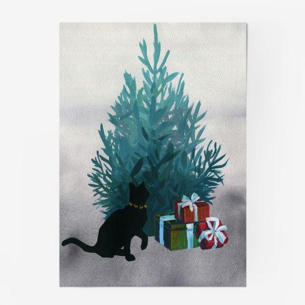 Постер «Christmas and black cat»