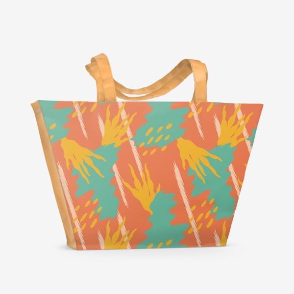 Пляжная сумка «Яркая абстракция, Летний дождь.»