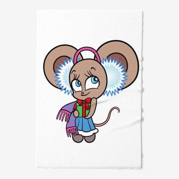 Полотенце «Новогодняя мышка с подарком»