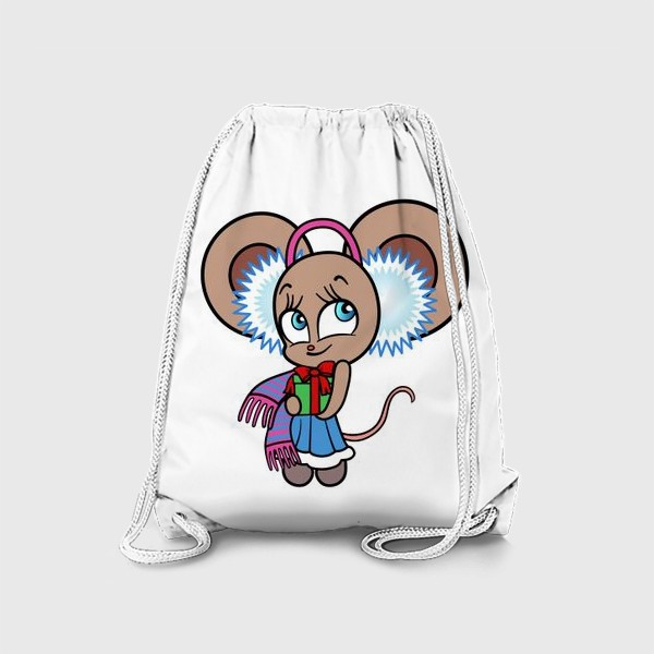 Рюкзак «Новогодняя мышка с подарком»