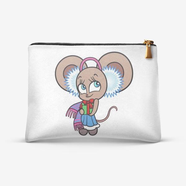 Косметичка «Новогодняя мышка с подарком»