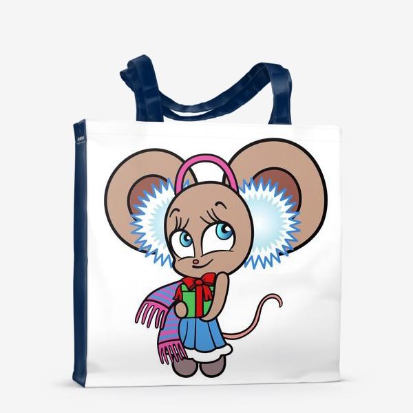 Сумка-шоппер «Новогодняя мышка с подарком»