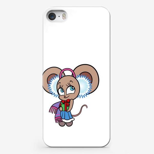 Чехол iPhone «Новогодняя мышка с подарком»