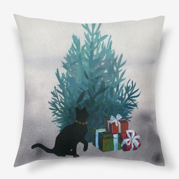 Подушка «Christmas and black cat»