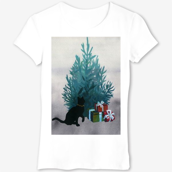 Футболка «Christmas and black cat»