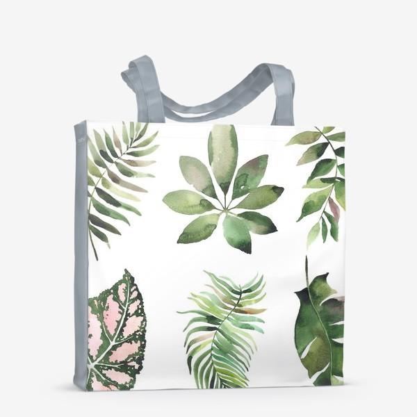 Сумка-шоппер «тропические листья, растения, тропики, листья»