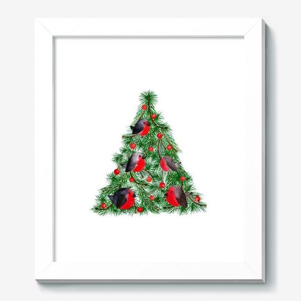 Картина «Новогодняя ёлка со снегирями»
