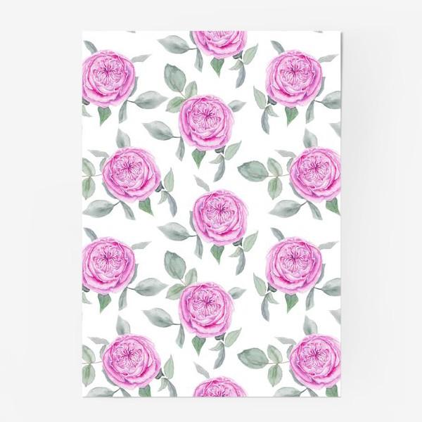 Постер «Розовые розы. Акварельный паттерн на белом фоне»