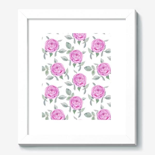 Картина «Розовые розы. Акварельный паттерн на белом фоне»