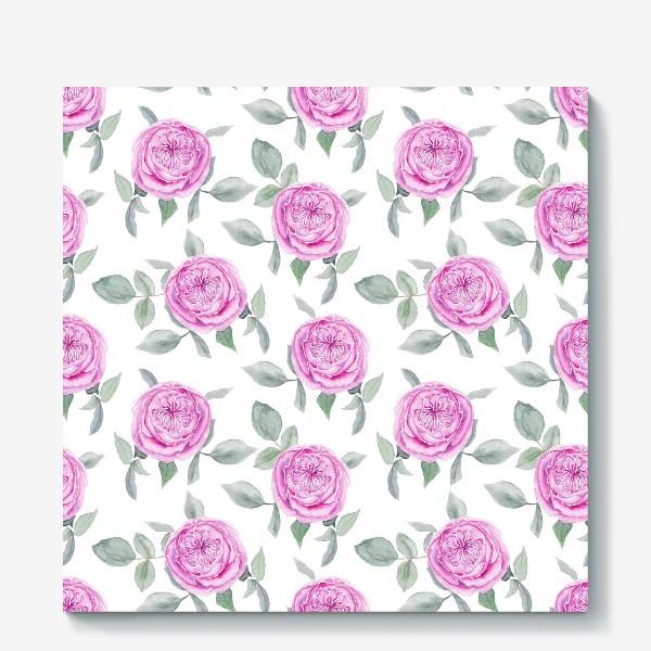 Холст «Розовые розы. Акварельный паттерн на белом фоне»