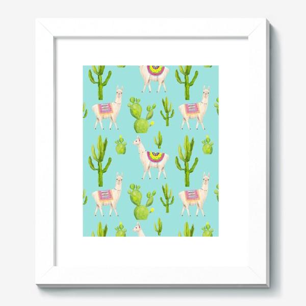 Картина «Ламы (альпаки) и кактусы. Летний тропический акварельный паттерн на голубом фоне»