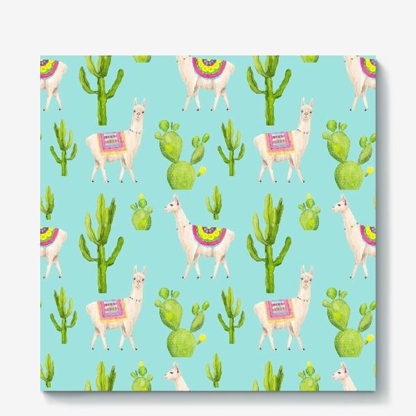 Холст «Ламы (альпаки) и кактусы. Летний тропический акварельный паттерн на голубом фоне»