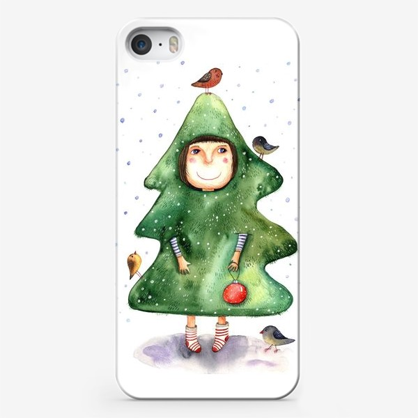 Чехол iPhone «Девочка в костюме ёлки»