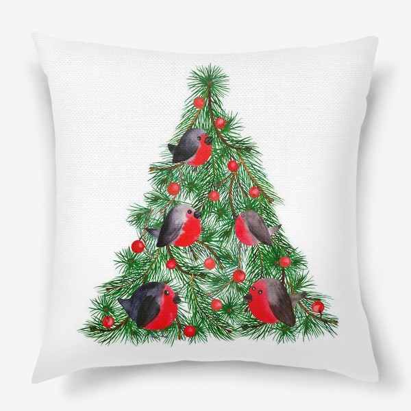 Подушка «Новогодняя ёлка со снегирями»