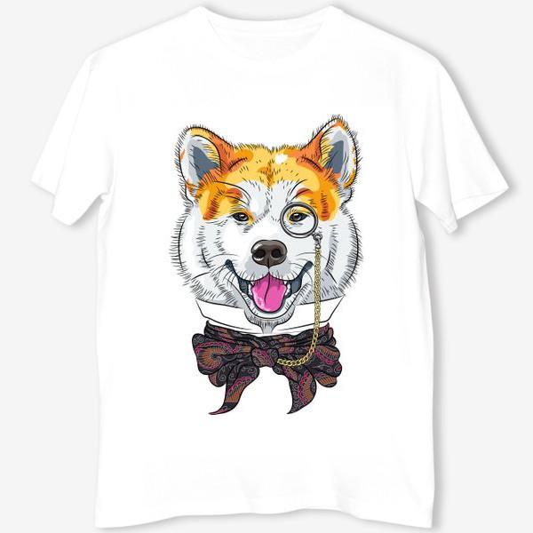 Футболка «собака породы Акита Ину с моноклем и в галстуке»