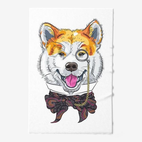 Полотенце «собака породы Акита Ину с моноклем и в галстуке»