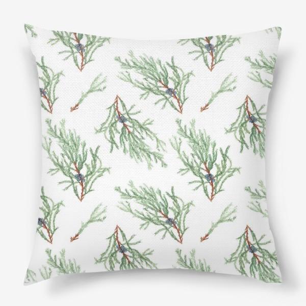 Подушка «Можжевельник хвойное растение. Акварельный ботанический паттерн на белом фоне»