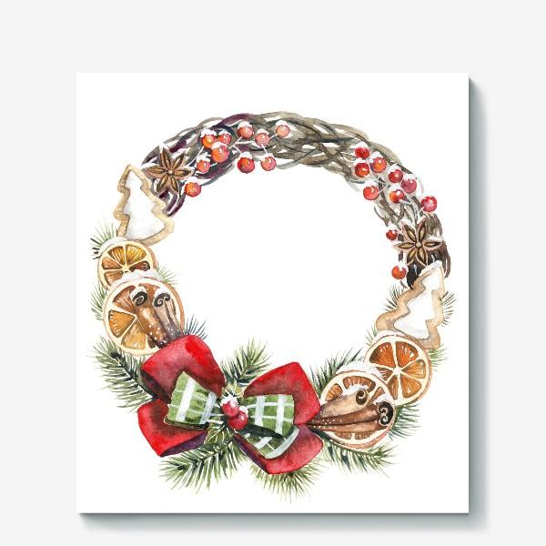 Холст «рождественский венок»