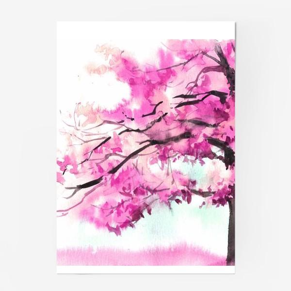 Постер «Акварель Розовое дерево»