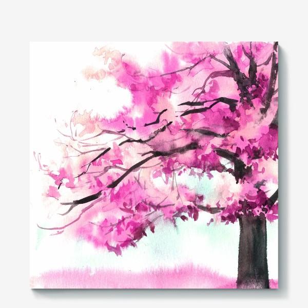 Холст «Акварель Розовое дерево»